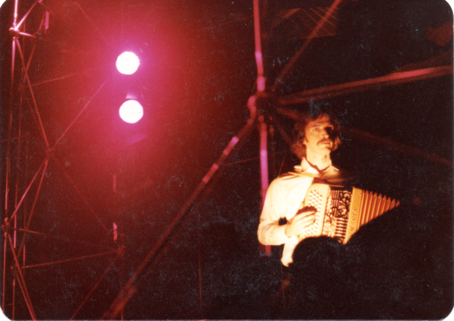 Playing accordion in Shanghai during the concerts