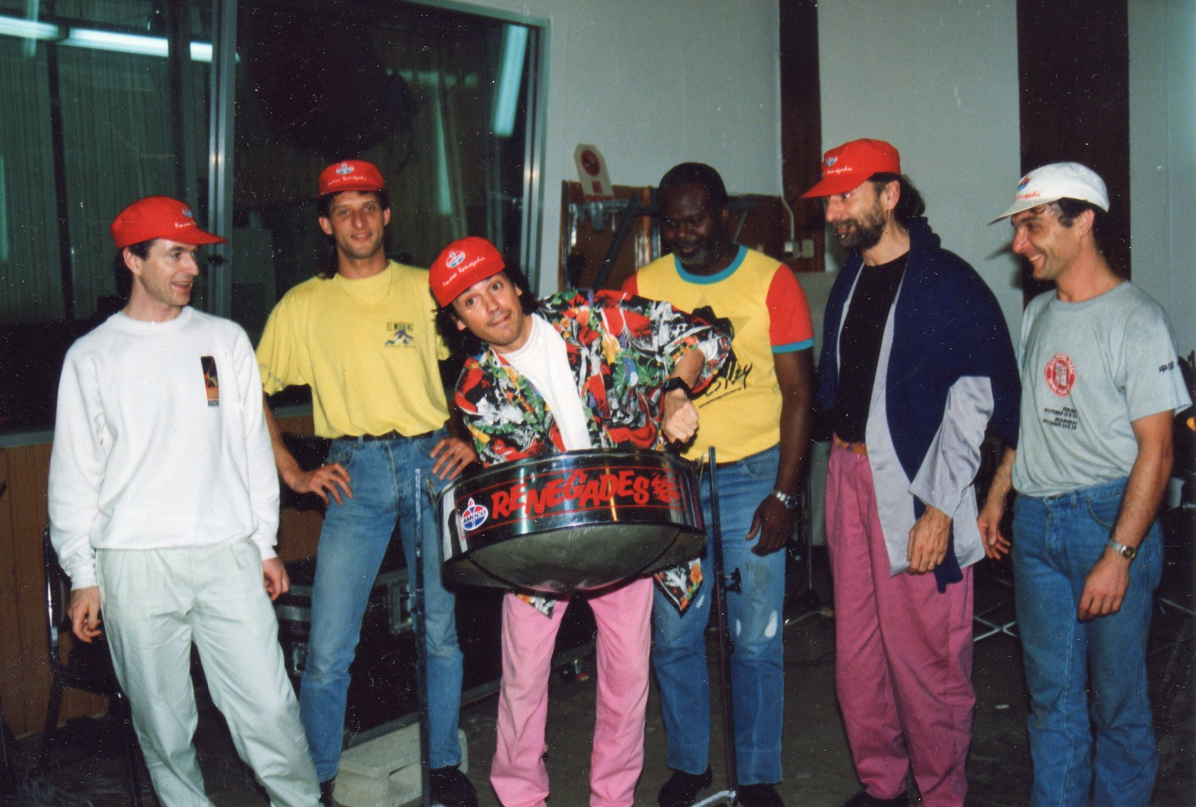 : In Trinidad studio during the recordings of the Amocco Renegades. Left to Right : MG, Denis Vanzetto, JMJ, the studio owner, Dominique Perrier, Patrick Pelamourgues